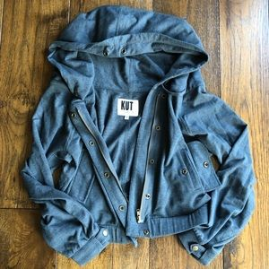 Kut from the Kloth Grayish Blue LS Hooded jacket